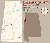 Map of Lamar County in Alabama