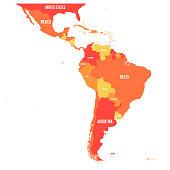 Map of Latin America. Vector illustration in shades of orange