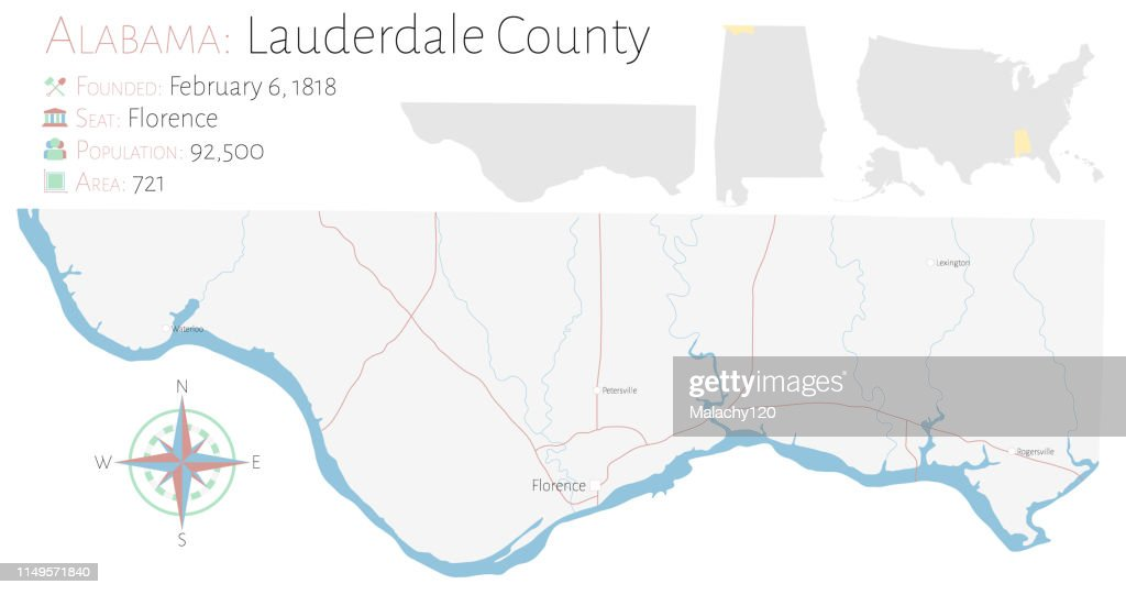 Map of Lauderdale County in Alabama