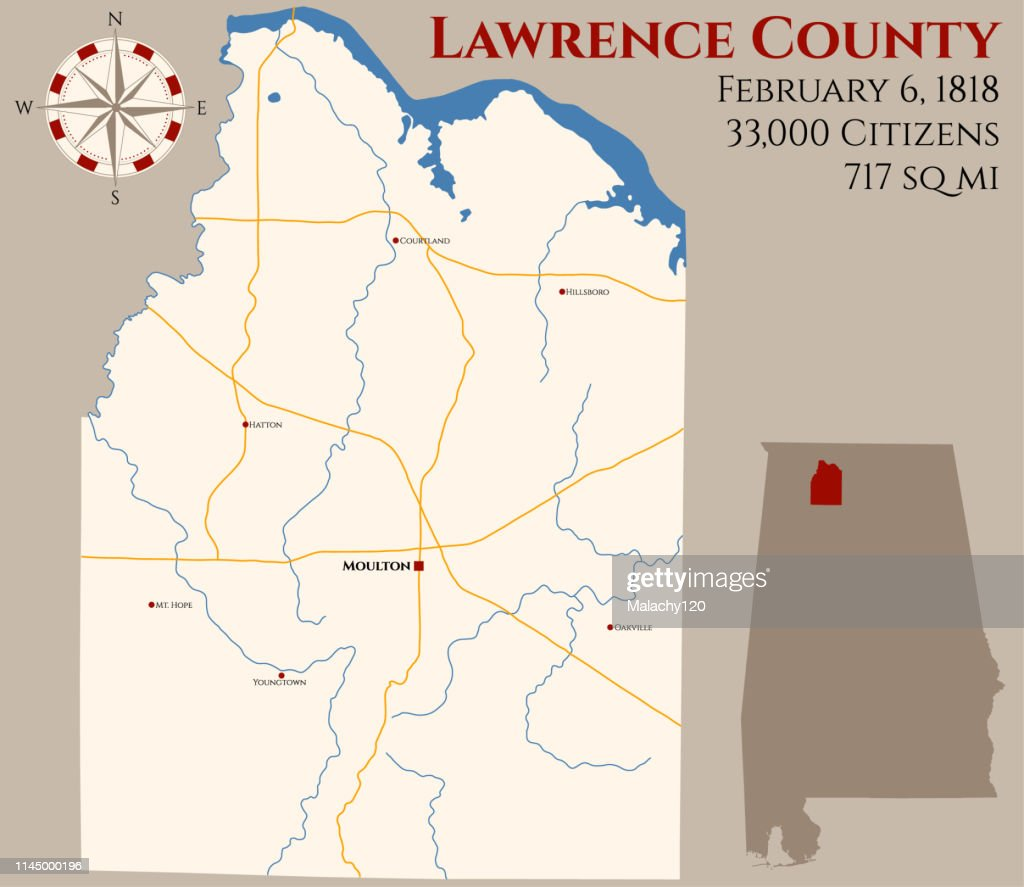 Map of Lawrence County in Alabama