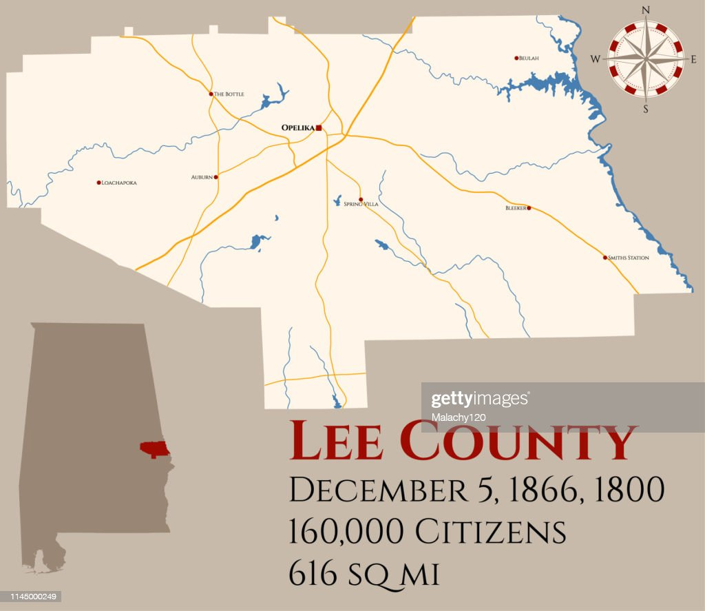 Map of Lee County in Alabama