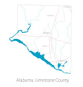Map of Limestone county in Alabama