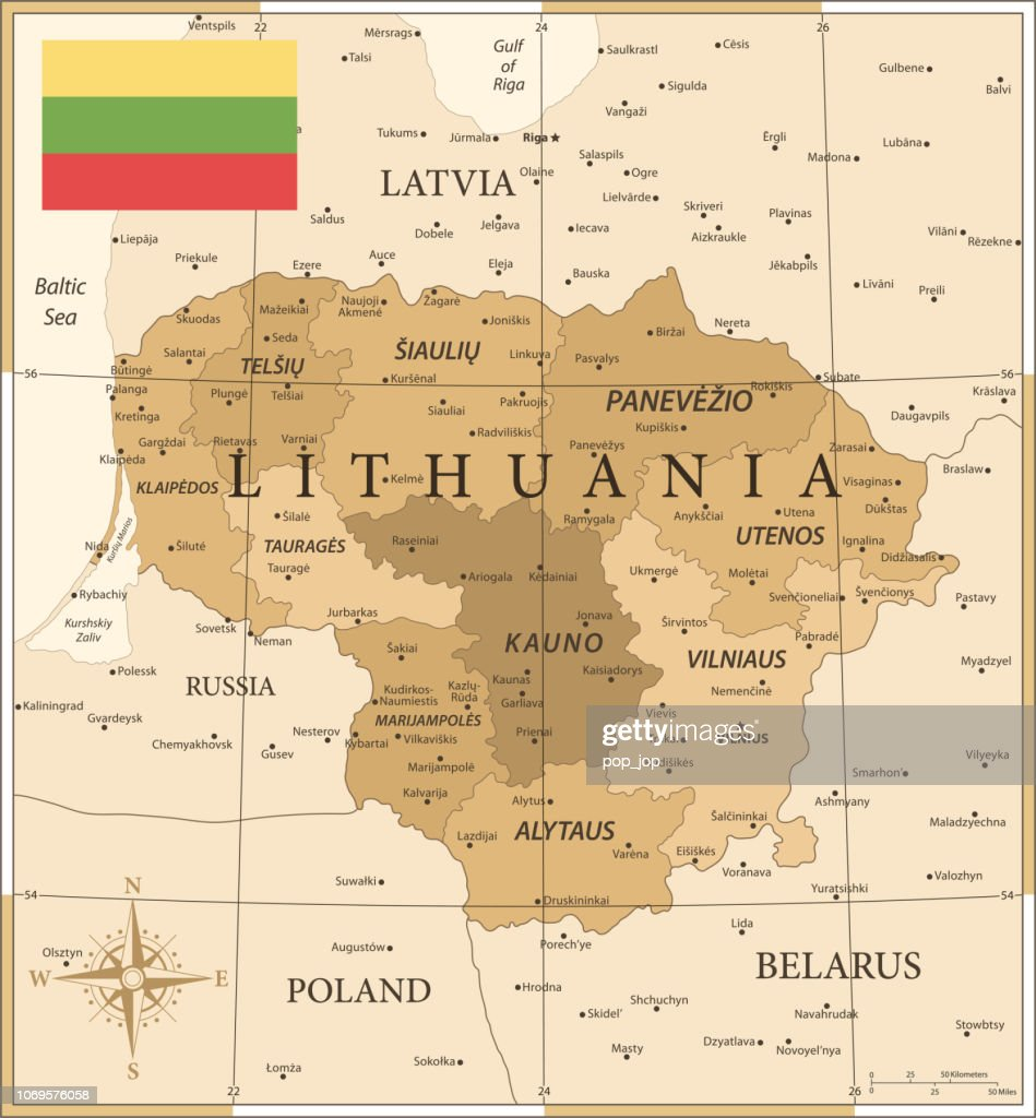 Map Of Lithuania Vintage Vector High-Res Vector Graphic ...
