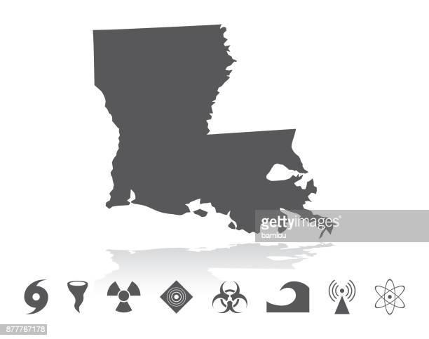 map of louisiana disaster icons set - louisiana stock illustrations, clip art, cartoons, & icons