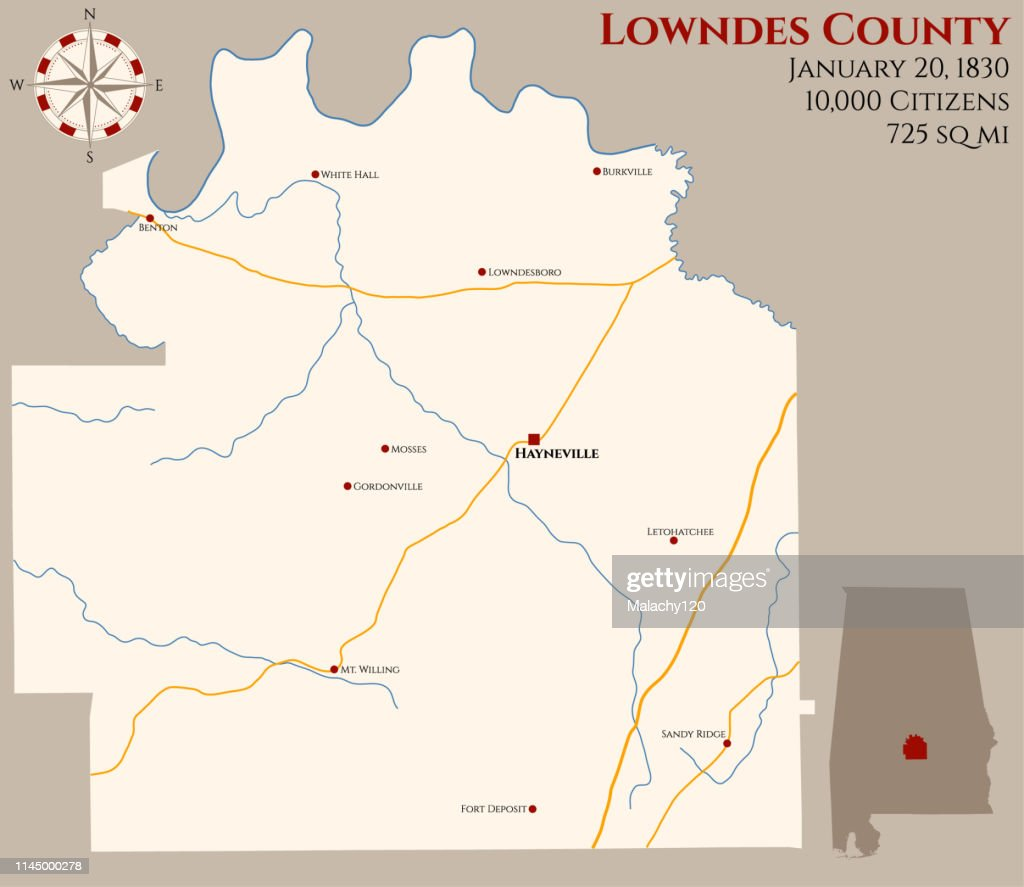 Map of Lowndes County in Alabama