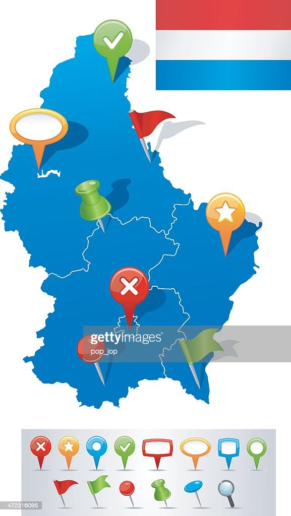 Map Of Luxembourg With Navigation Icons Vector Art Getty Images - Luxembourg map vector