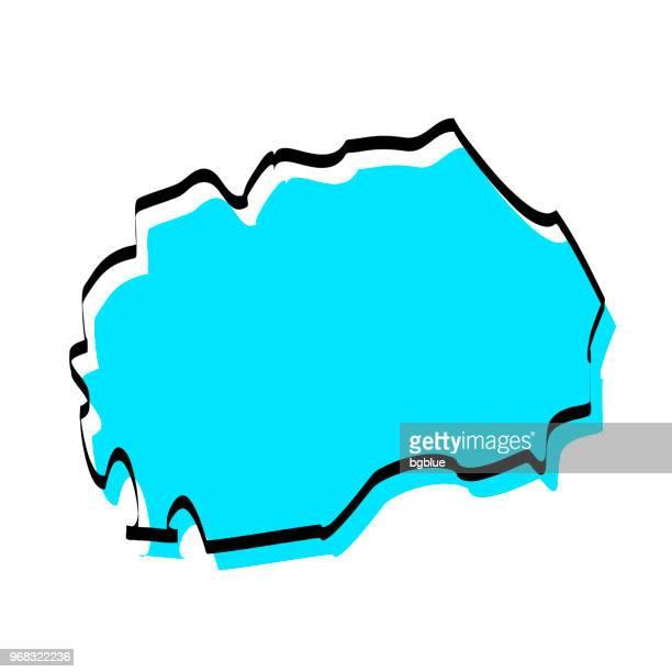 Macedonia map hand drawn on white background, trendy design