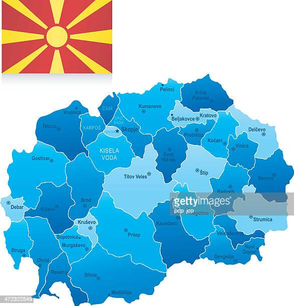 map of macedonia - states, cities and flag - balkans stock illustrations, clip art, cartoons, & icons