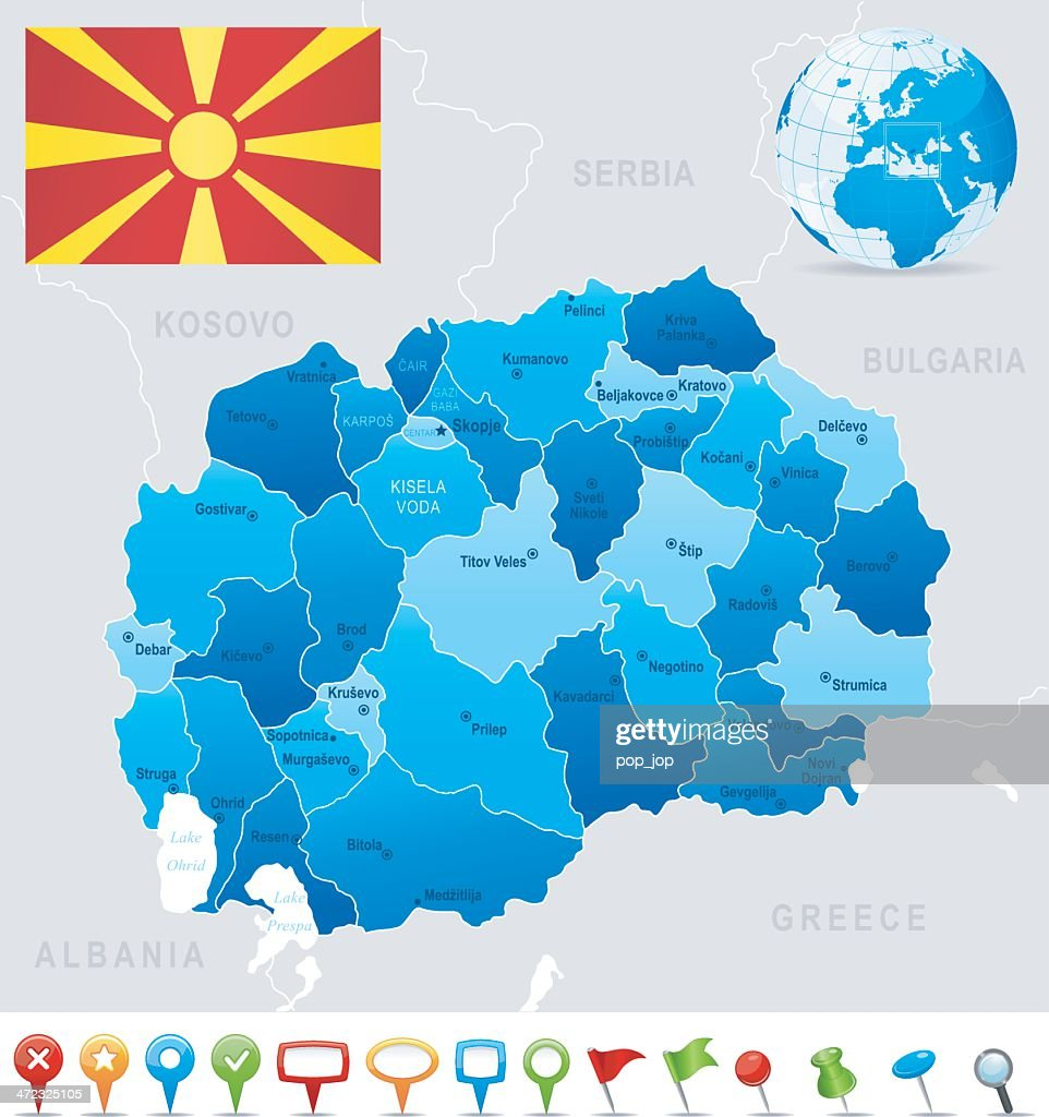 Map of macedonia states cities flag and icons vector art getty images map of macedonia states cities flag and icons vector art publicscrutiny Choice Image