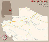 Map of Macon County in Alabama