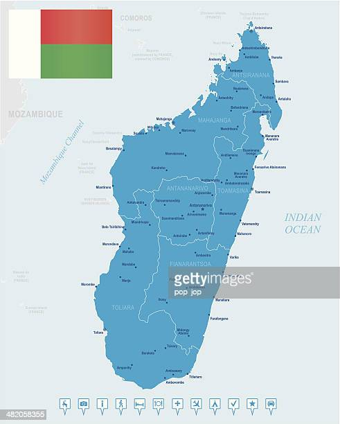 map of madagascar - states, cities, flag, navigation icons - antananarivo stock illustrations, clip art, cartoons, & icons