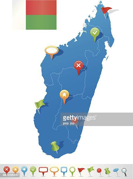 map of madagascar with navigation icons - antananarivo stock illustrations, clip art, cartoons, & icons