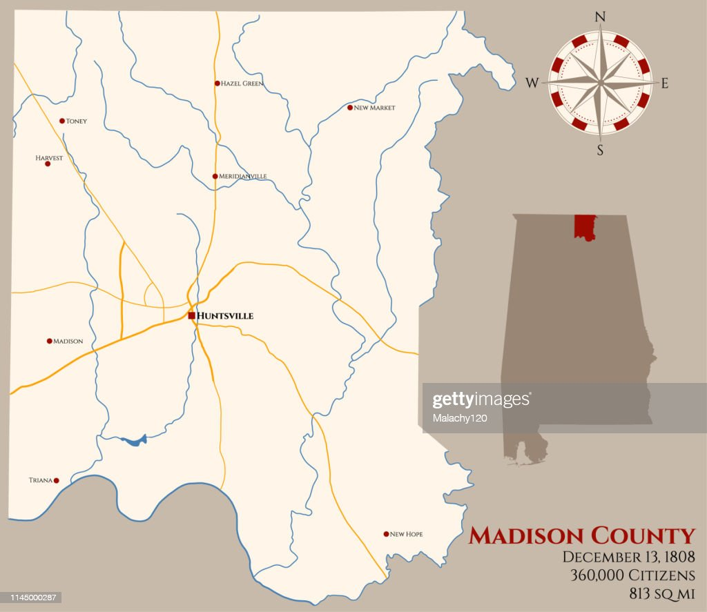 Map of Madison County in Alabama