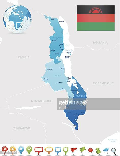 map of malawi - states, cities, flag and icons - mozambique stock illustrations, clip art, cartoons, & icons