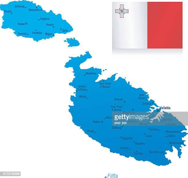 マップのマルタ-都市とフラグ - マルタ島点のイラスト素材/クリップアート素材/マンガ素材/アイコン素材