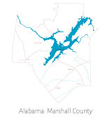 Map of Marshall county in Alabama