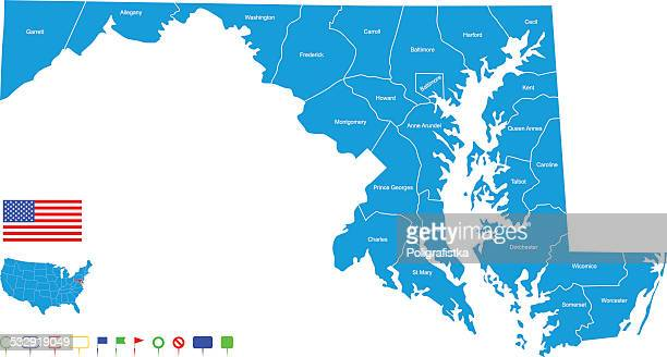 map of maryland - maryland stock illustrations, clip art, cartoons, & icons