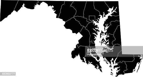 map of maryland - maryland us state stock illustrations, clip art, cartoons, & icons