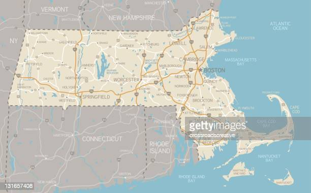 map of massachusetts with highways - massachusetts stock illustrations