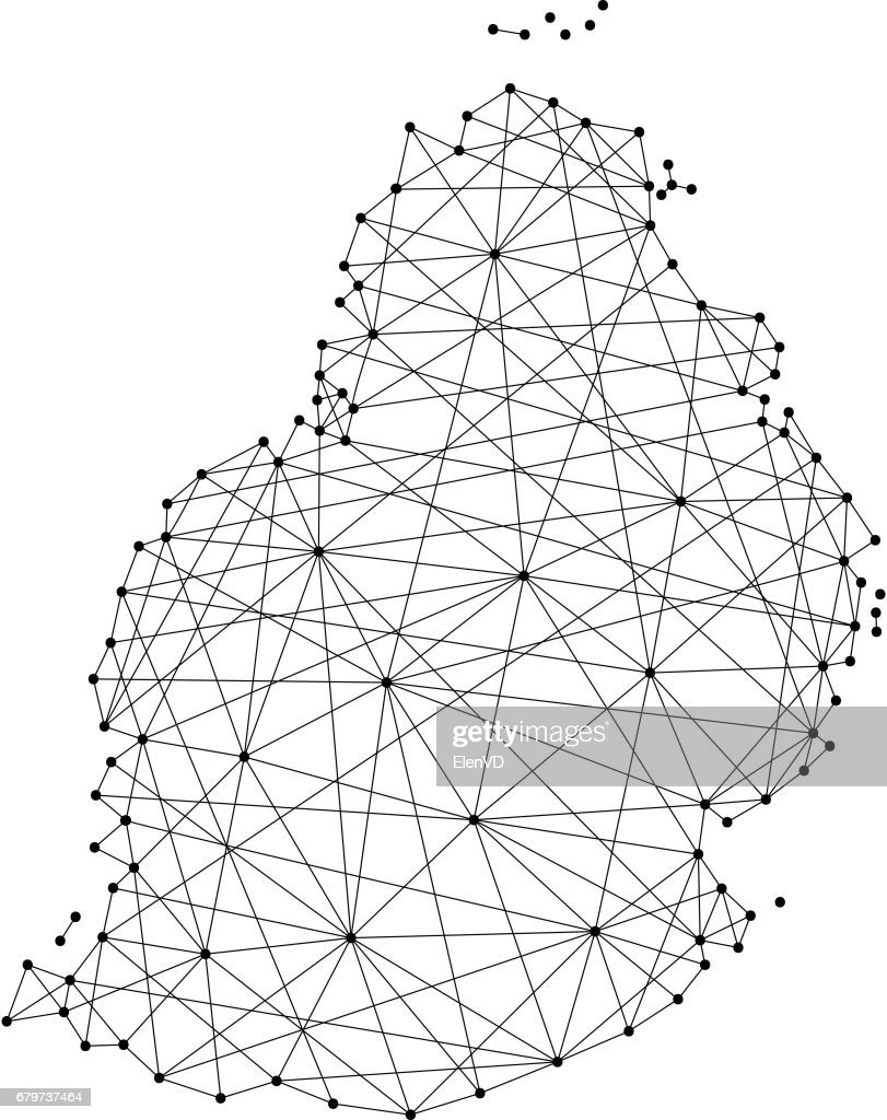 Map of Mauritius from polygonal black lines and dots of vector illustration