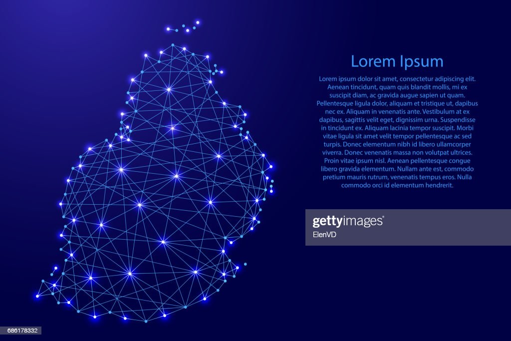 Map of Mauritius from polygonal blue lines and glowing stars vector illustration