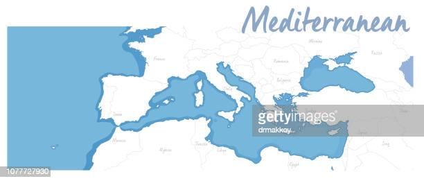 map of mediterranean - mediterranean sea stock illustrations