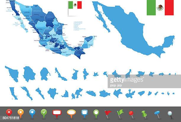map of mexico - states, cities and navigation icons - yucatan peninsula stock illustrations