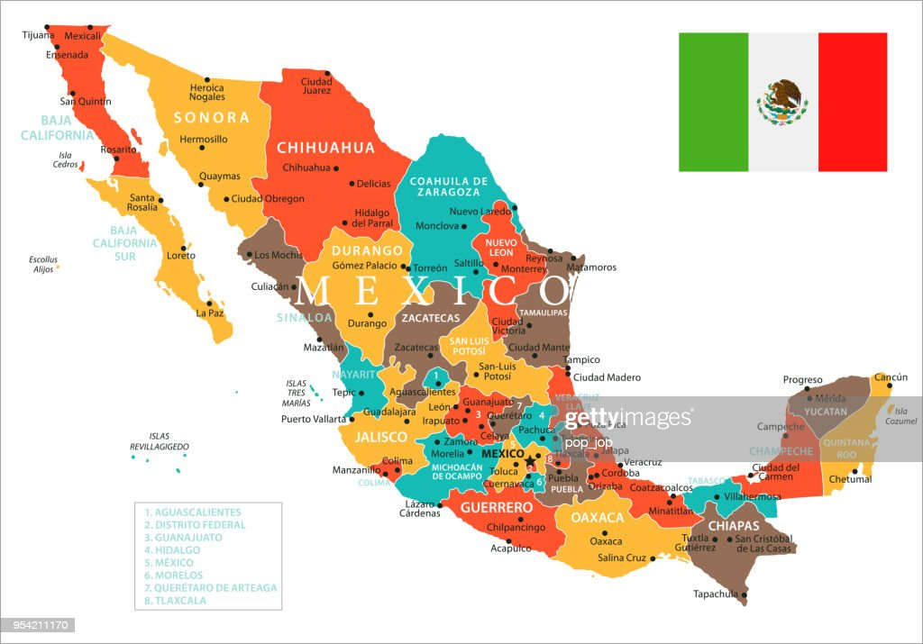 Map Of Mexico Vector Vector Art Getty Images