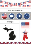 Map of Michigan. Set of flat design icons nfographics elements w
