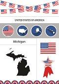 Map of Michigan. Set of flat design icons nfographics elements w