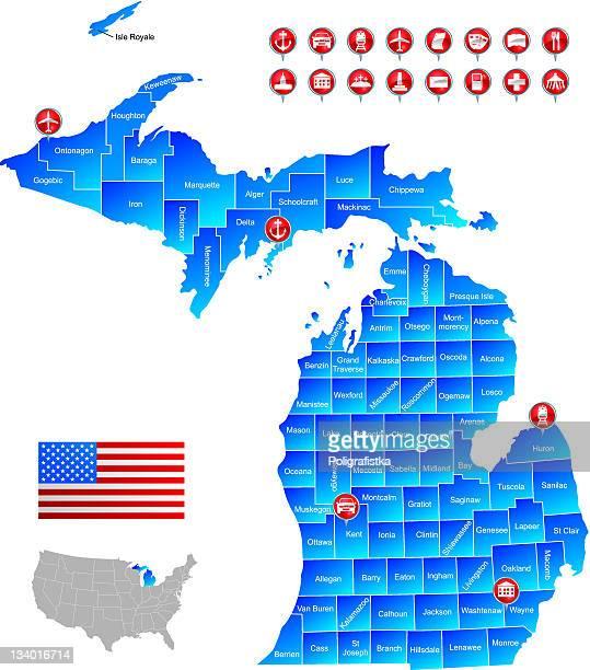 map of michigan - detroit michigan map stock illustrations