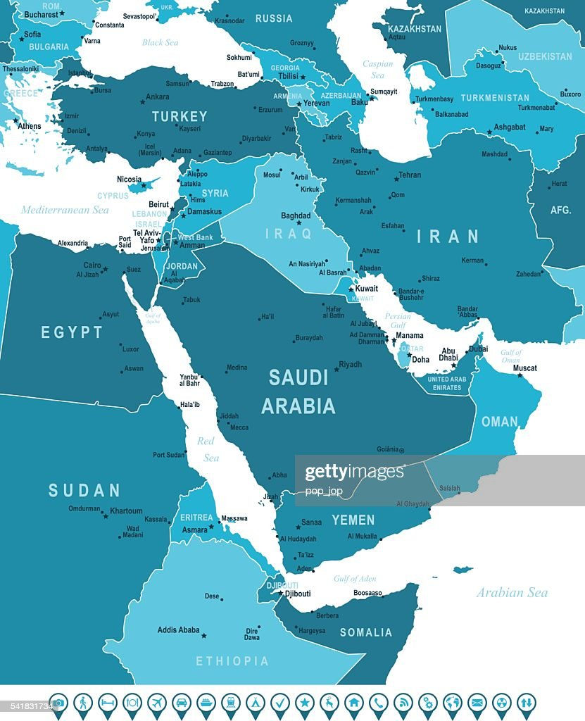 Map of Middle East and Navigation Icons