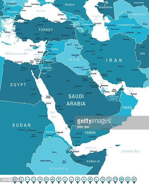 karte des nahen ostens und navigation symbole - iran stock-grafiken, -clipart, -cartoons und -symbole