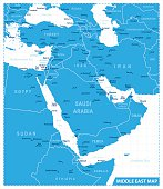 Map of Middle East - illustration