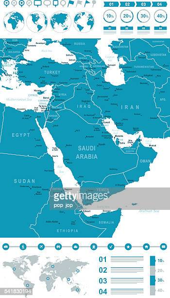 map of middle east infographic - gulf countries stock illustrations