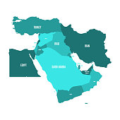 Map of Middle East, or Near East, in shades of turquoise blue. Simple flat vector ilustration