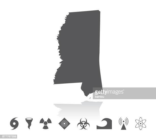 map of mississippi disaster icons set - mississippi stock illustrations, clip art, cartoons, & icons