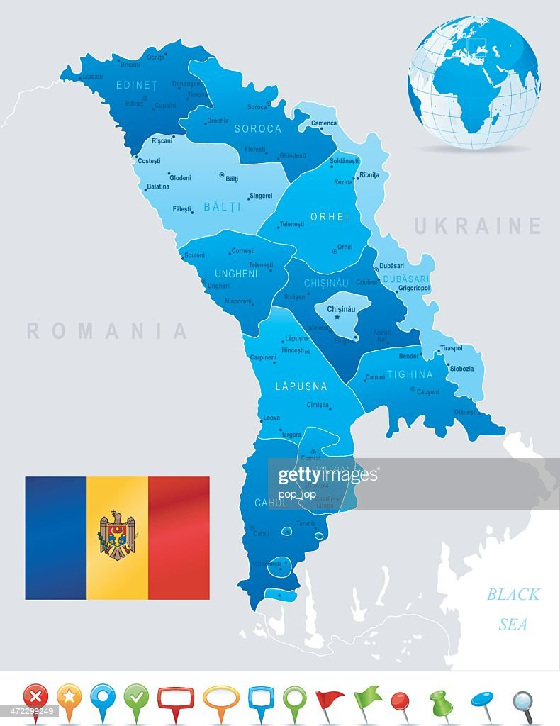 Map Of Moldova States Cities Flag And Icons stock