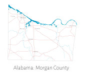 Map of Morgan county in Alabama