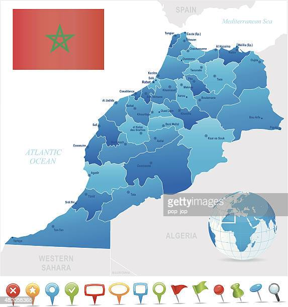 Map of Morocco - states, cities, flag and icons
