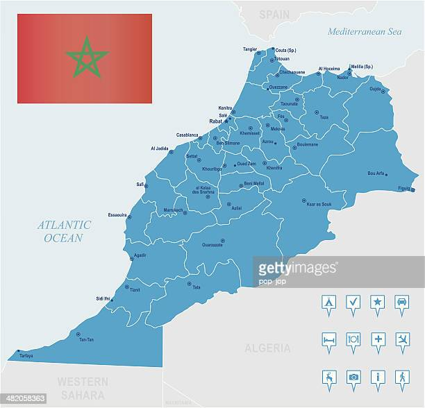 Map of Morocco - states, cities, flag, navigation icons