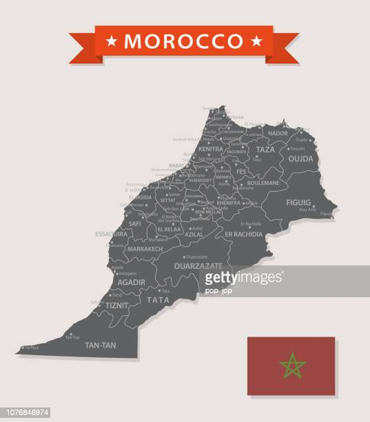 Map of Morocco - Vintage Vector