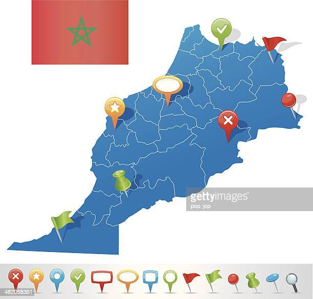 Map of Morocco with navigation icons