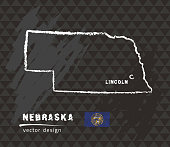 Map of Nebraska, Chalk sketch vector illustration