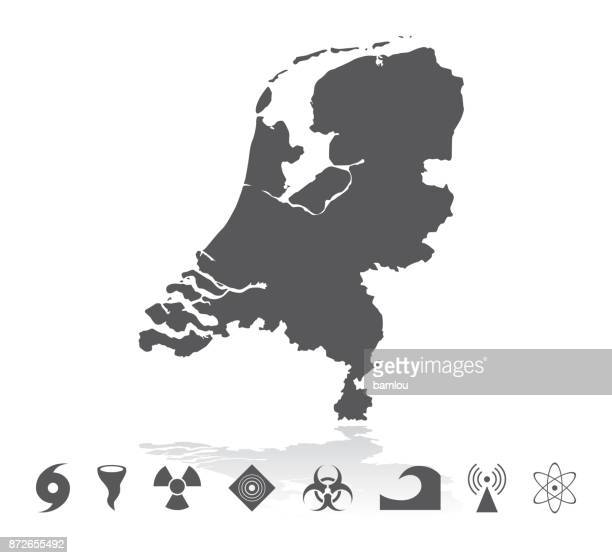 Map of Netherlands Disaster Icons Set