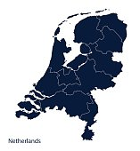 Map of Netherlands, Holland.