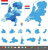 Map of Netherlands - states, cities and navigation icons