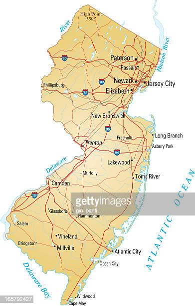 Map of New Jersey with highways on white background