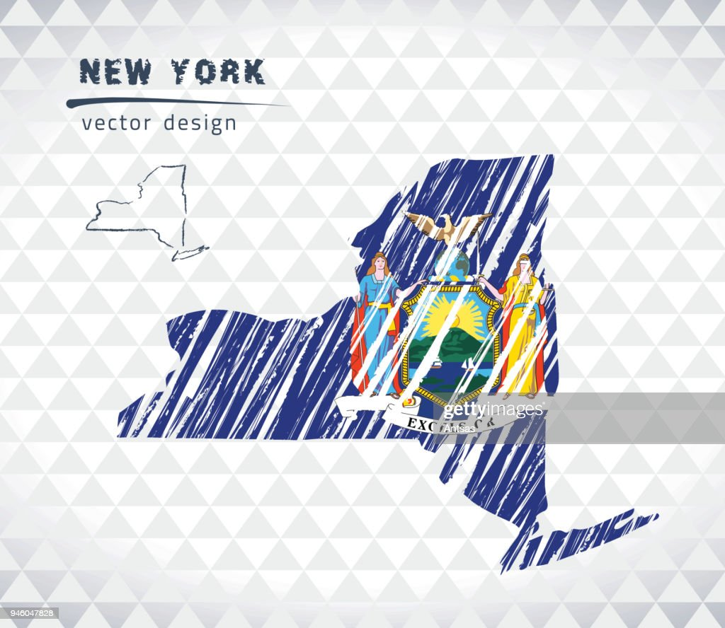 Map of New York with hand drawn sketch pen map inside. Vector illustration