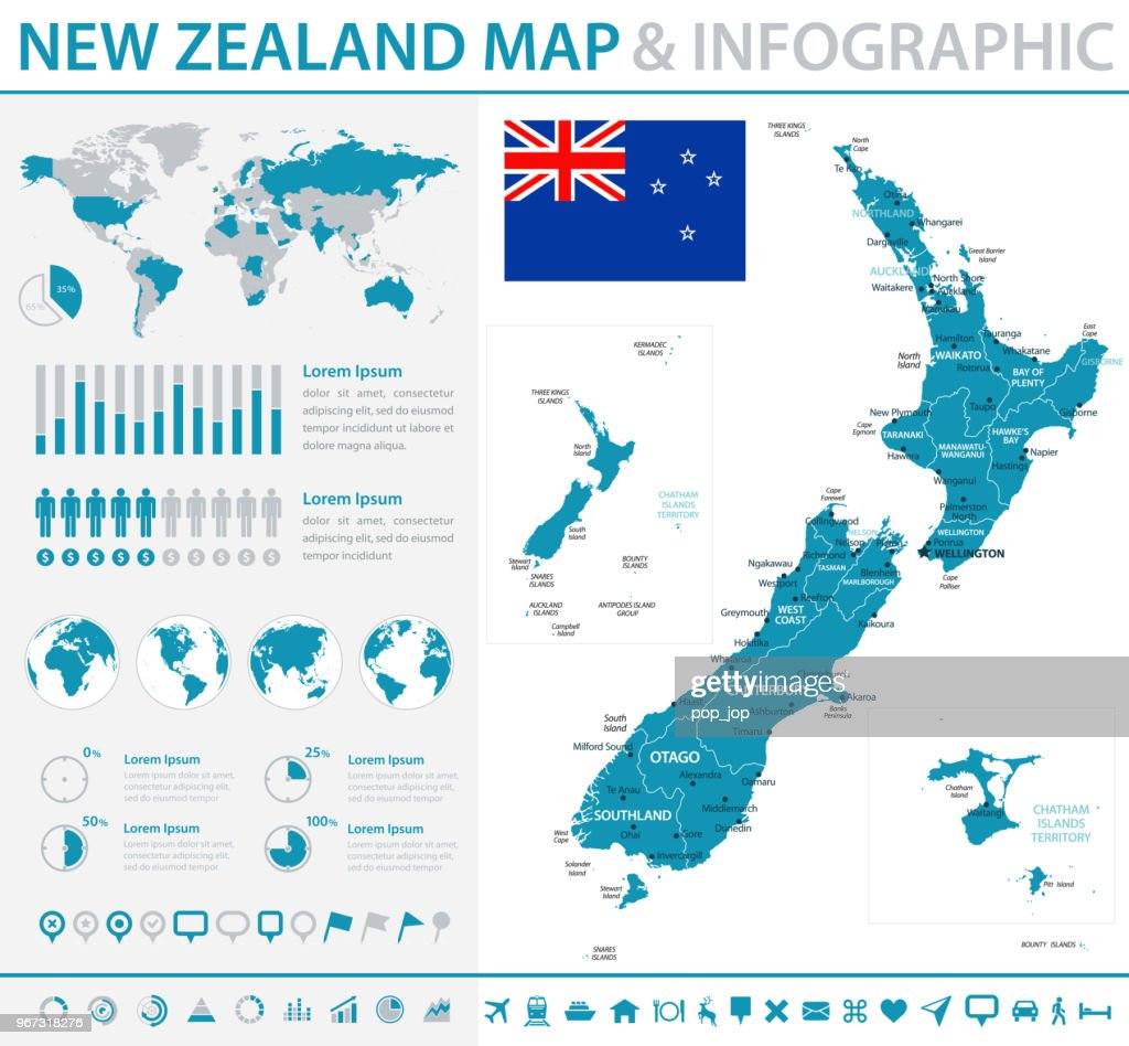 Map of New Zealand - Infographic Vector